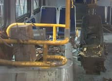 TransLink says this bus was torched Wednesday night following an assault on the female driver.