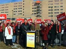Liberal Leader Kevin Taft held a news conference in front of Calgary's former Holy Cross Hospital.