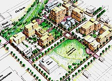 An artist's rendering of the Boyle Renaissance project, part of Edmonton's downtown revitalization plan.