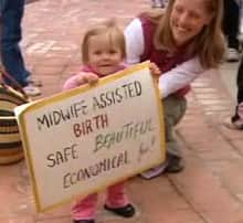 Ruth was born a year ago with the help of a midwife. She and her mother joined supporters of midwifery in a rally Monday in Calgary.
