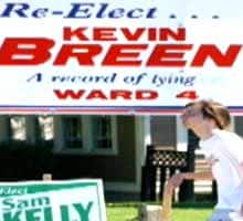 One of Kevin Breen's campaign signs was altered to showcase the words 'a record of lying.'