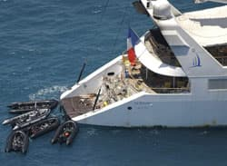 Zodiac commando boats arrive at French cruise ship Le Ponant off Somalia's coast on April 12, 2008. Pirates had boarded the 88-meter (288-foot) French luxury yacht, capturing its crew, 22 of whom were French, off the coast of Somalia in the Gulf of Aden.