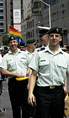 Members of the Canadian Forces were permitted to march in uniform for the first time during Toronto's Gay Pride parade on Sunday.