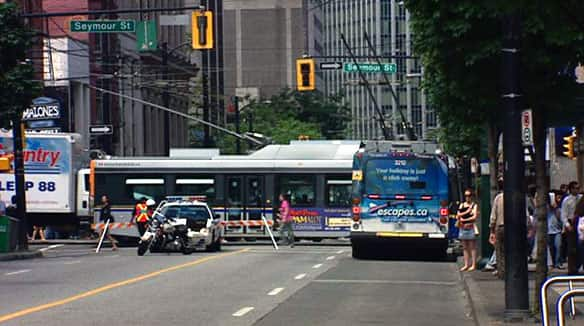 TransLink said public transit services were fully operational for the afternoon commute, although many buses had to take alternate routes out of Vancouver's downtown core.