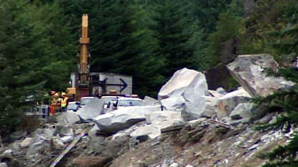 Rock slide en route to Whistler, BC.