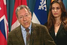 Irwin Cotler speaks to journalists in Ottawa.