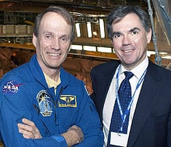 Steve MacLean, left, and Industry Minister Jim Prentice at NASA space facilities in Florida in March for the launch of the shuttle carrying Dextre, Canada's two-armed robot, to the International Space Station. (Canadian Press)
