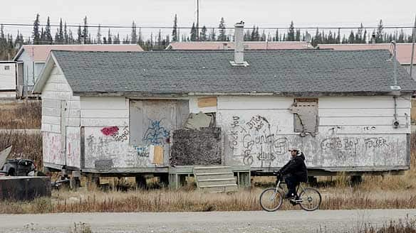 One of the many rundown homes on the Kashechewan native reserve in northern Ontario as photographed in 2005.