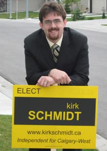 'I figured I'd put myself forward as an independent because I don't necessarily subscribe to any of the major parties,' says Kirk Schmidt.