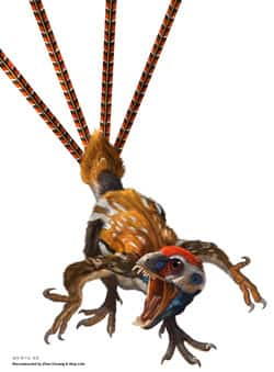 Epidexipteryx, a new feathered maniraptoran dinosaur from the Jurassic period of China, is a primitive, flightless member of the avialan group. The elongate ribbon-like tail feathers were almost certainly for display, researchers said.