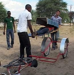 A bicycle ambulance, donated by Vancouver Rotary Clubs, is tested in rural Namibia.