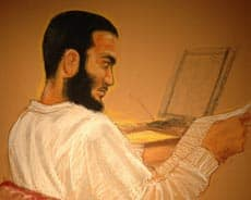 Omar Khadr is shown in a courtroom sketch in Guantanamo Bay, Cuba Thursday, May 8, 2008. (Janet Hamlin/CBC/Canadian Press)