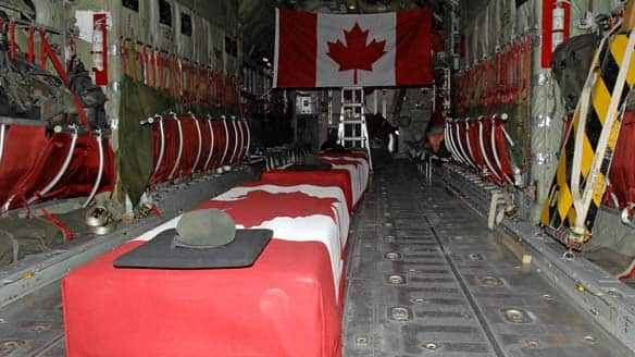 The bodies of Cpl. Mark McLaren, Pte. Demetrios Diplaros and Warrant Officer Robert Wilson were returned to Canada on Monday.