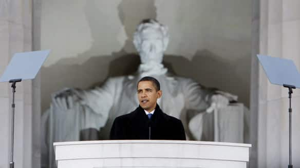 President Obama at the Lincoln Memorial
