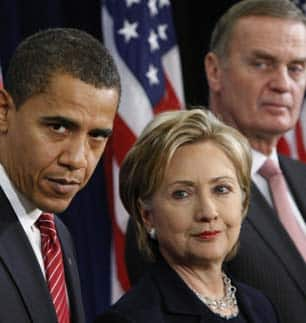 Barack Obama, Secretary of State Hillary Clinton and National Security Adviser, Ret. Marine Gen. James Jones (right). (Pablo Martinez Monsivais/Associated Press)