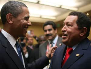 Chavez and Obama yuk it up.