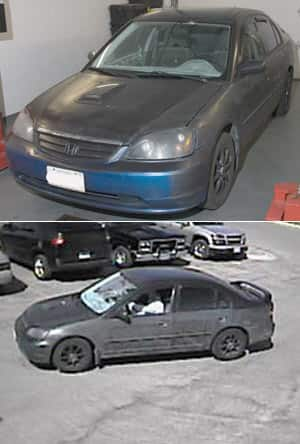 Police released pictures Friday of a 2003 blue and black Honda sedan believed to be involved in the abduction.