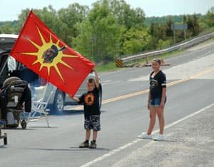A boy joins Mohawk protesters at their demonstration. (Submitted by Christopher Clarke)