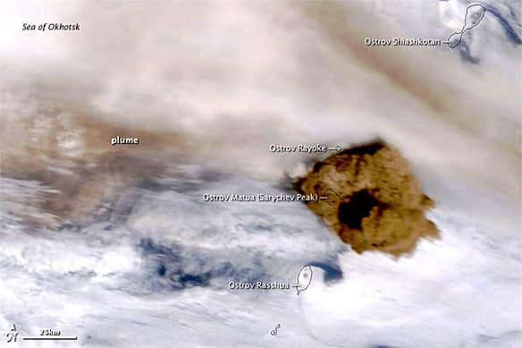 NASA released this image of the ash plume from the Sarychev Peak on June 15.