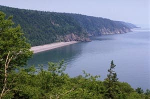 The view of New Brunswick's Cape Enrage in the Bay of Fundy.