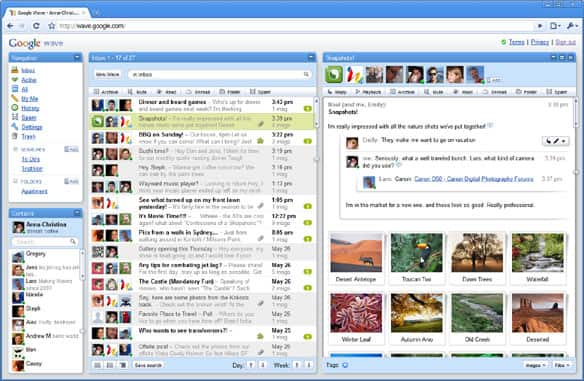 Google Wave's inbox, as seen on the Official Google Blog.