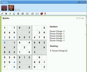 A sudoku game being played inside Google Wave. (Courtesy Google)