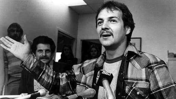 Donald Marshall Jr. speaks to reporters at a 1983 news conference.