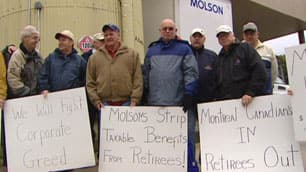 Retired Molson employees protest in St. John's September 25.