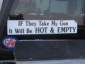 A bumper sticker on the back of a pickup truck near High River, Alta, at the height of the 2008 federal election campaign shows the gun registry was a highly debated issue.