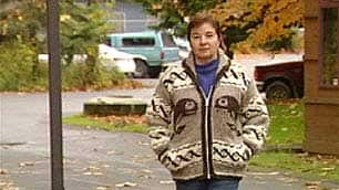 Dianne Hinkley shows off a genuine Cowichan Tribes sweater.