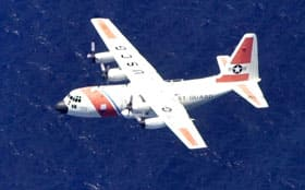 A C-130 similar to this one is believed to be missing. The U.S. coast guard plane collided with a military helicopter off the Southern California coast Thursday.