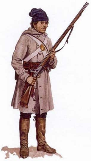 Image of a Lower Canadian militiaman in 1813, someone who would have fought at Chateauguay and, possibly, Crysler's farm. With the exception of his crossbelts and musket, issued by the British, everything else is civilian clothing. (Reconstruction by Gerald A. Embleton/Parks Canada)