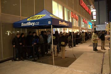 Gamers lined up to buy Call of Duty: Modern Warfare 2 at the Yonge and Dundas Best Buy store early Tuesday.