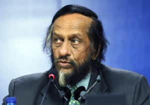 Chairman of the Intergovernmental Panel on Climate Change, Rajendra Pachauri, talks to the media Thursday during a press conference at the European Parliament in Brussels.