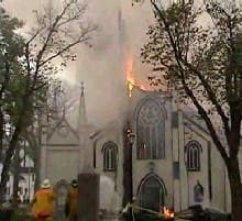 A fire ravaged St. John's Anglican Church in 2001.