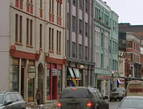 A street level view of some of the properties in downtown St. John's that would be affected by plans to build a new 15-storey building.