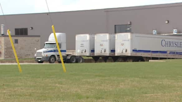 Chrysler trucks arrive at Johnson Controls Inc. in Lakeshore, Ont.,