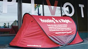 Vancouver activists say a campaign to temporarily house the homeless in bright red tents would attract international attention to their plight during the Olympics and force the government to come up with a housing strategy.