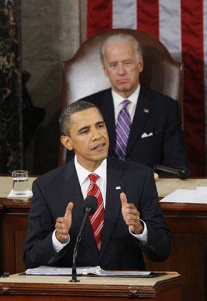 President Barack Obama delivers his State of the Union address on Capitol Hill in Washington, Wednesday on as Vice-President Joe Biden looks on.