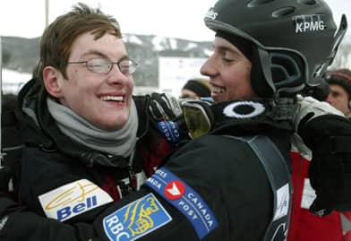 A family matter: Alexandre Bilodeau, the Olympic gold medal winner in the men's moguls, celebrates with his older brother and inspiration, Frederic (left), following a World Cup race in Ste.-Adele, Que. (Francois Roy/Canadian Press)
