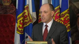 Finance Minister Graham Steele takes questions from reporters in Halifax on Tuesday.