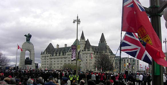 The national End of Era ceremony in Ottawa was one of many across the country. Others also took place in England, Belgium and at the Canadian National Vimy Memorial in France.