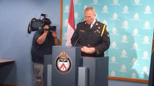 Toronto police Chief William Blair speaks to reporters on Tuesday about a series of raids that were conducted across Ontario earlier in the day.