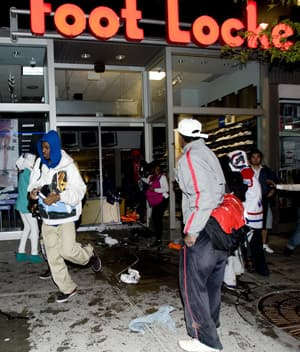 This athletic goods store was among the Montreal shops vandalized and looted following the Montreal Canadiens' win over the Penguins on Wednesday night in Pittsburgh.