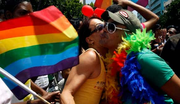 People march in Havana as part of the events leading up to the International Day Against Homophobia.