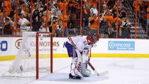 Montreal Canadiens goalie Jaroslav Halak looks downward after giving up a goal in the team's 4-2 loss to the Philadelphia Flyers on May 24.