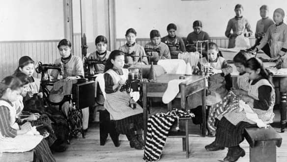 Students in a classroom in Resolution, N.W.T.