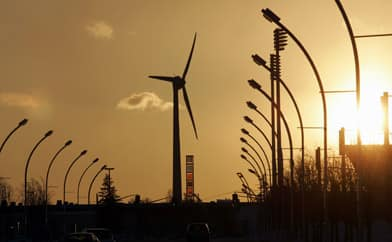 A wind turbine feeds renewable electricity into the Ontario grid  at the CNE grounds in Toronto. (J.P. Moczulski/Reuters)