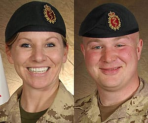 Master Cpl. Kristal Giesebrecht and Pte. Andrew Miller were killed  when their armoured vehicle hit an improvised explosive device.