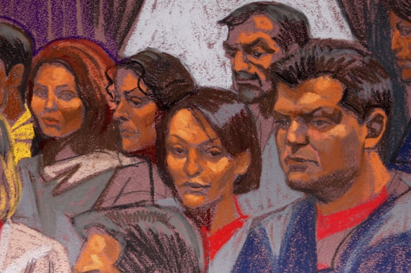A courtroom sketch of the ten Russians who pleaded guilty on July 8, 2010 to being unregistered foreign agents while living undercover in the U.S. (Christine Cornel/Reuters)